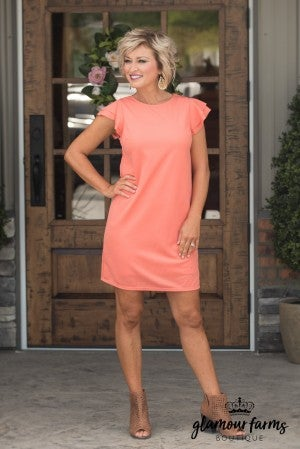 Fall Sunset Shift Dress - Coral