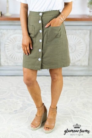 Gal About Town Button Skirt