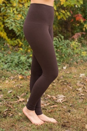 Curvy| Ahh-Mazing Tummy Tuck Ankle Legging - Dark Brown