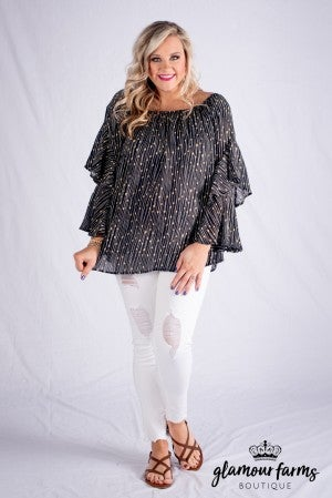 Sweet Detail Ruffle Sleeve Top