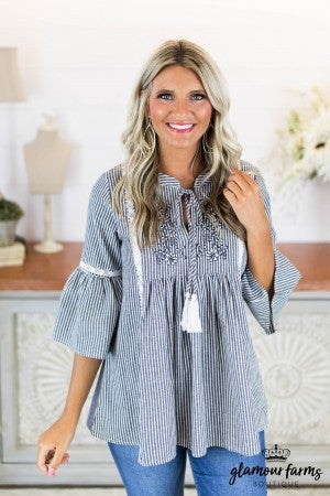 sku8700 | **Daily Deal** Embroidered Tassel Tie Top