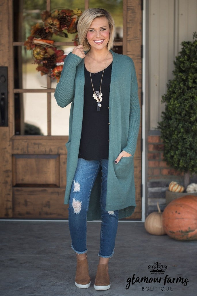 The Brooke Sweater Cardigan - Teal Green