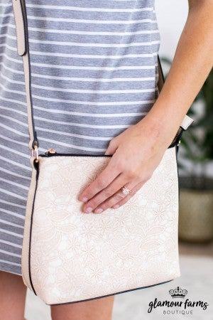sku12112 | Floral Embossed Crossbody Bag
