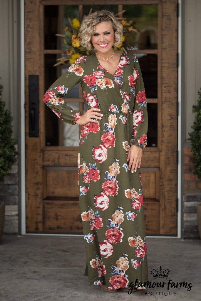 Let's Head Out Floral Maxi Dress - Olive