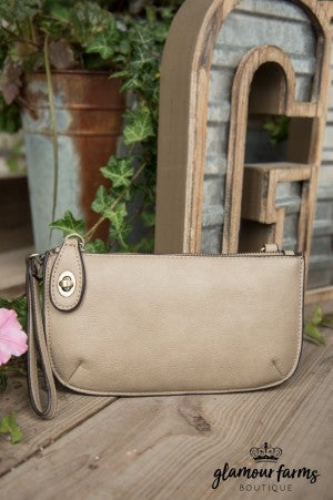Minnie Crossbody Wristlet Clutch - Stone