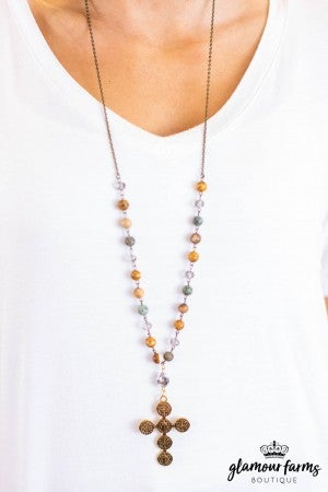 sku11096 | Cross And Bead Necklace