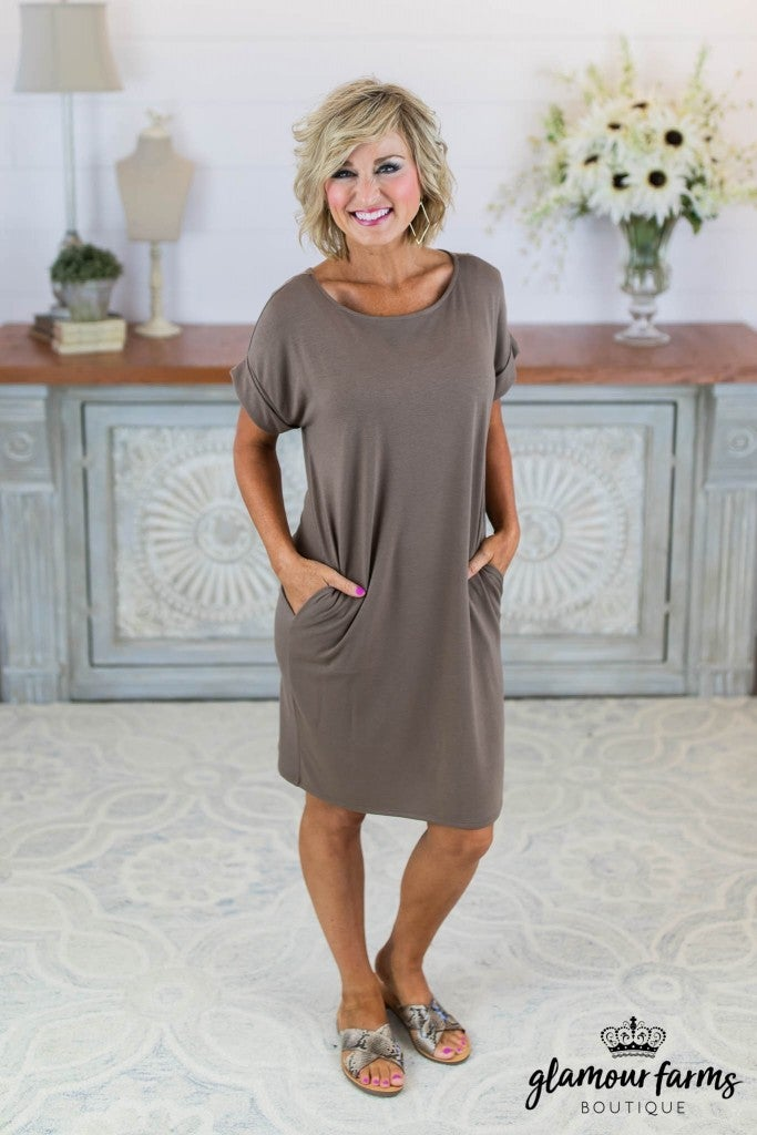 sku8446 | **Daily Deal** Rolled Sleeve Pocket Dress