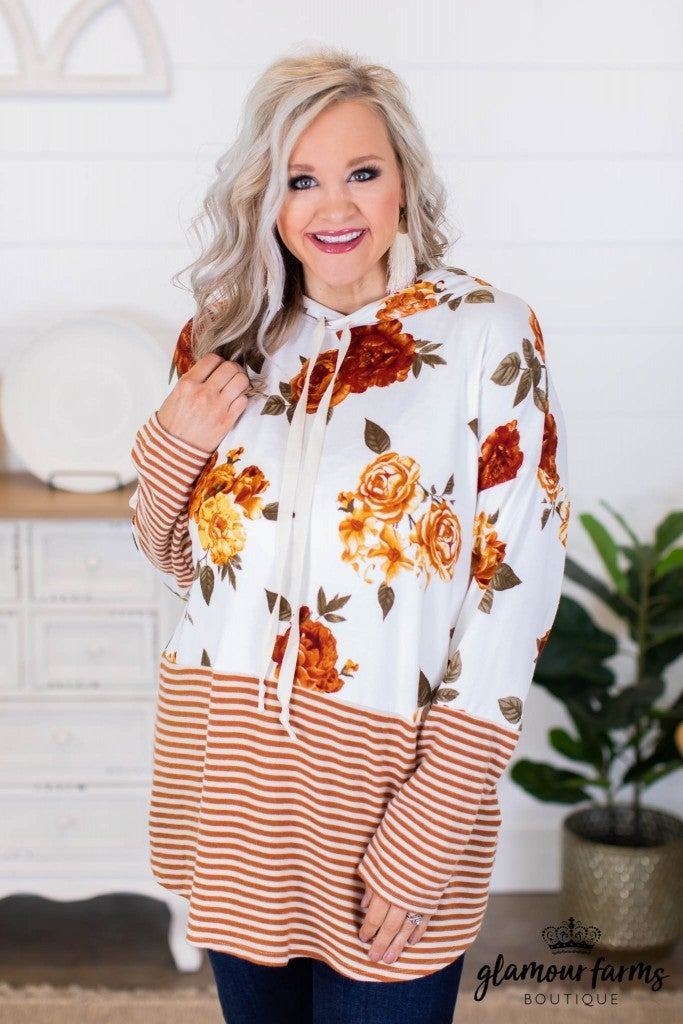 sku10041 | Floral and Stripe Hooded Top