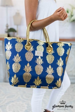 sku7749 | Gold Foil Pineapple Tote