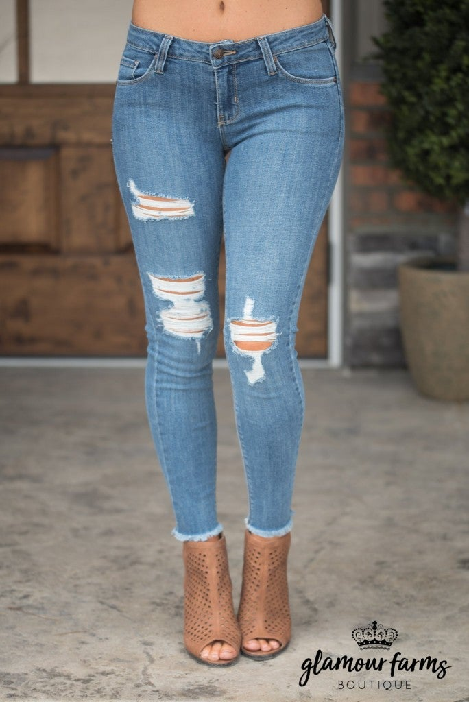 Makala Fray Hem Skinny Jean - Medium Wash
