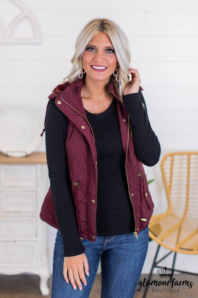 sku10982 | **Daily Deal** Quilted Hooded Vest