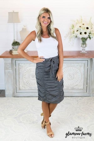 sku8122 | Ruched Pencil Skirt