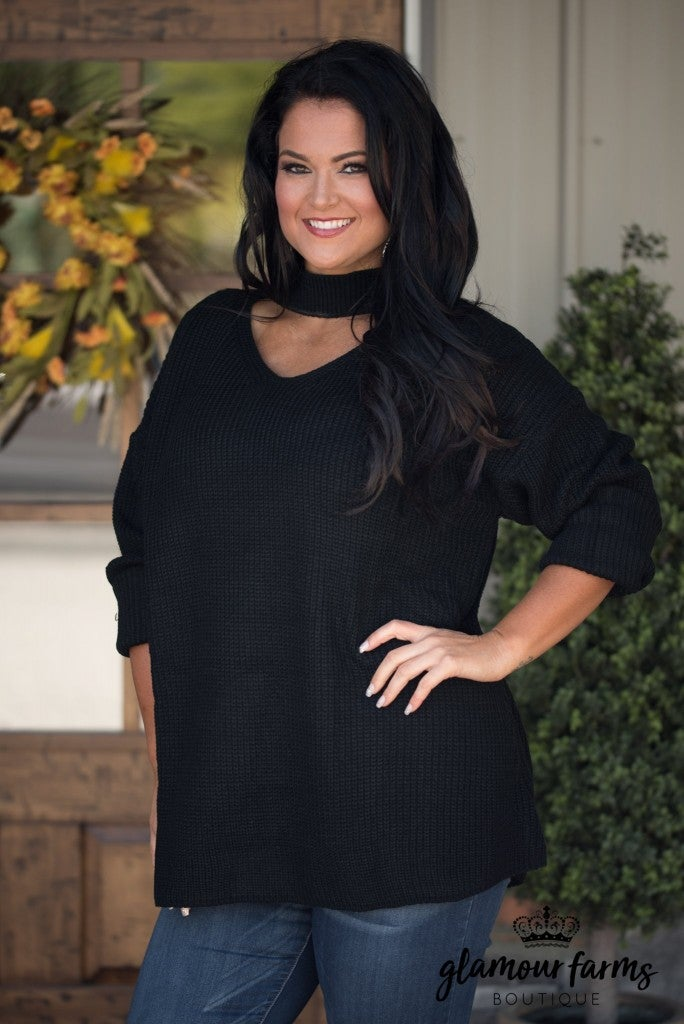 Curvy| Crisp Days Of Fall Sweater - Black