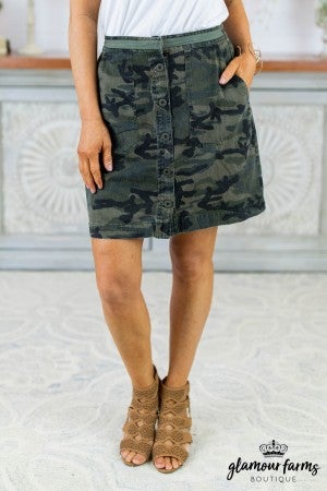 Gal About Town Camo Skirt