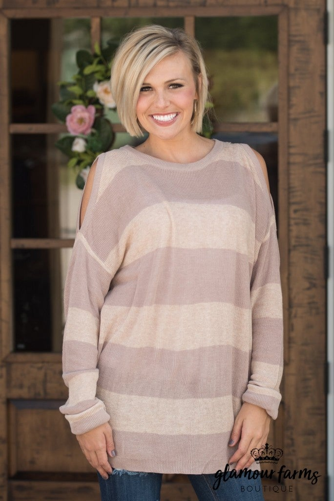 Striped To Perfection Tunic Sweater - Taupe