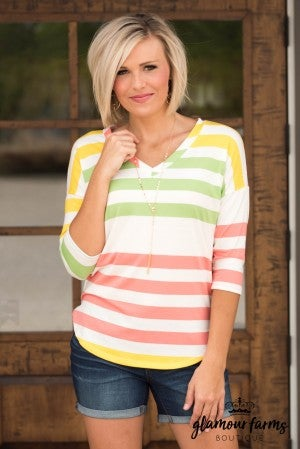 **Daily Deal** Kissed By The Sun Stripe Top