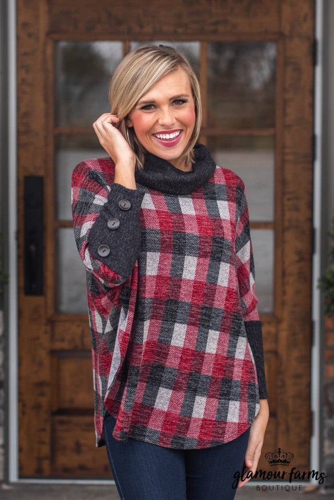 Highland Plaid Poncho Top