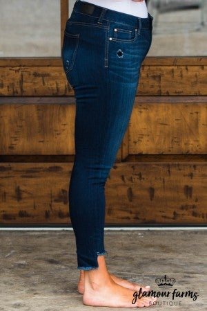 Rachel Distressed Frayed Ankle Skinny Jean