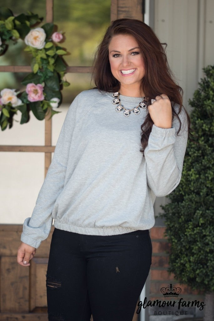 Emily's Lace-Up Back Sweatshirt - Heather Gray