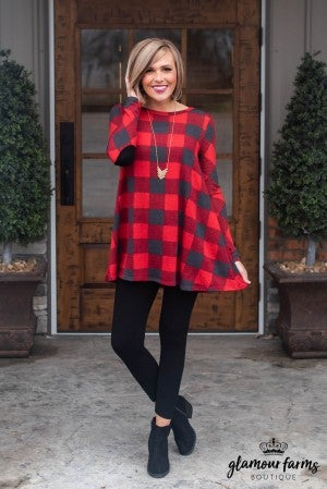 Just Believe Plaid Tunic