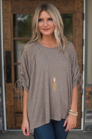 Sleep In Ruched Sleeve Top
