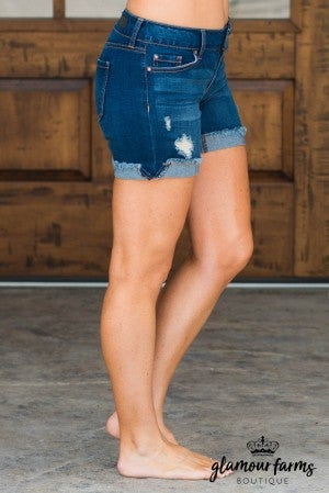 Eva Distressed Fray Flip Cuff Shorts