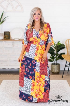 sku8866 | Floral Patchwork Maxi Dress