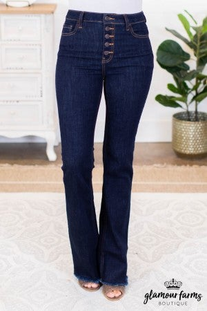sku10191 | High Rise Five Button Flare Jean