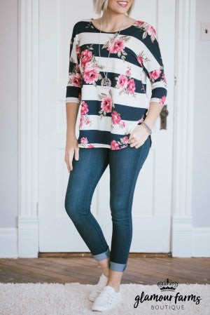 Mellie Stripes And Floral Top