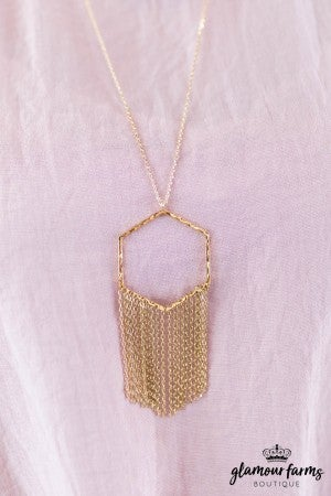 sku7981 | Hexagon And Tassel Necklace