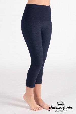 Curvy| Ahh-mazing Tummy Tuck Denim Crop Legging