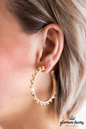 sku11739 | Metal Ball Hoop Earrings