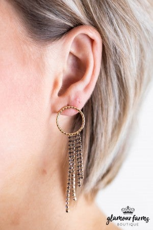 sku11789 | Circle & Crystal Tassel Earrings