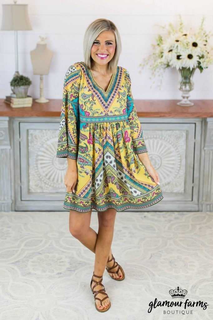 sku8377 | Paisley Bell Sleeve Dress