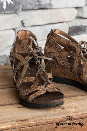 Lace Wedge Sandal
