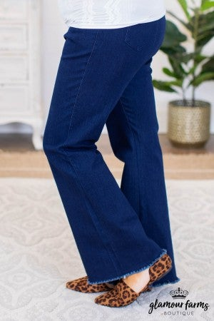sku9447 | High Waist Stretch Denim Flare with Frayed Hem