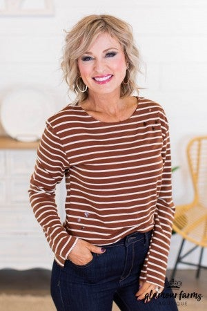 sku10930 | Distressed Stripe Top
