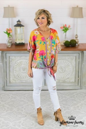 Tropical Holiday Front Tie Top