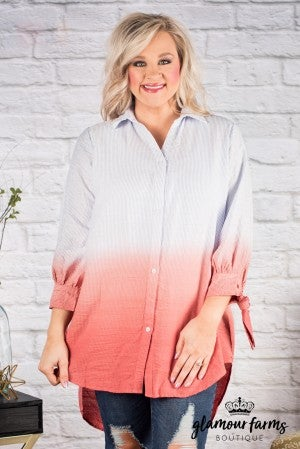 Curvy| Dip To My Lou Ombre Tunic