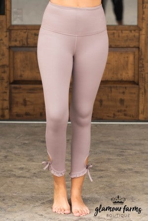 **Daily Deal** Ruffle And Tie Hem Active Ankle Legging