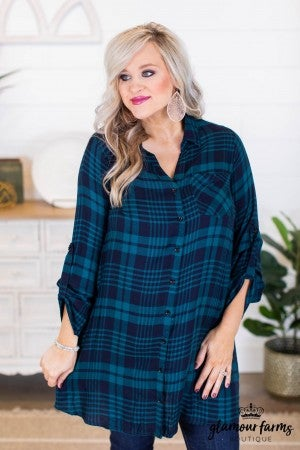 sku10562 | Plaid Shirt Dress