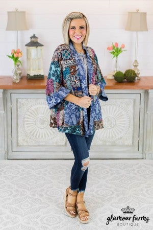 Top It Off Patch Print Kimono