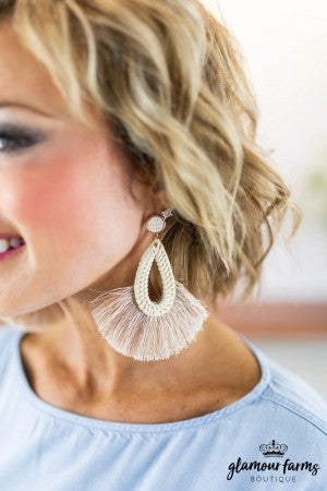 sku8029 | Straw Teardrop Tassel Earrings