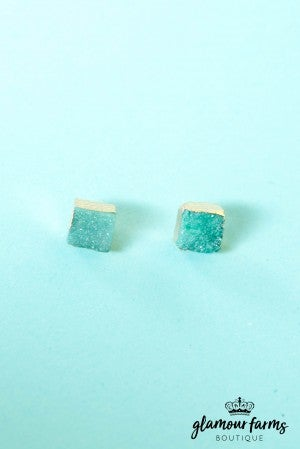 Demi Druzy Square Earrings