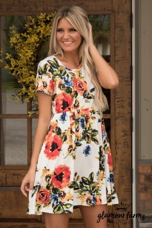 Swing Into Floral Pocket Dress