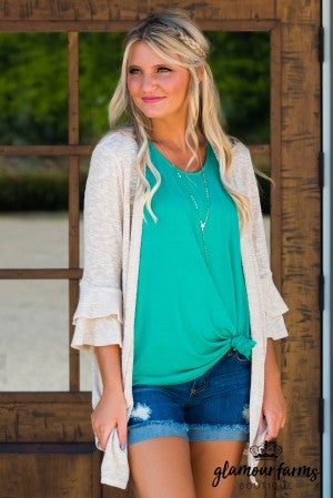 Simple Life Ruffle Sleeve Cardigan