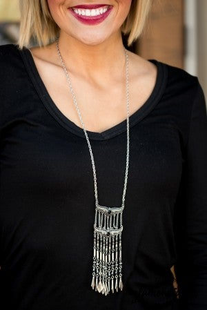 Andrea Necklace - Silver/Black