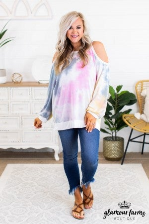 sku11958 | Tie Dyed Cold Shoulder Top