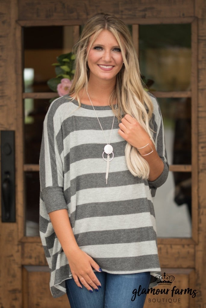 Hudson Unreal Softness Stripe Top - Heather Gray