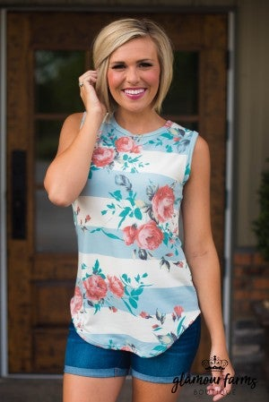 **Daily Deal** Franklin Floral And Stripe Tank